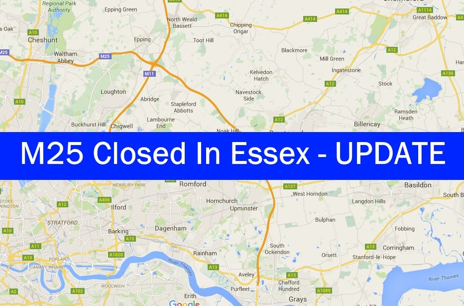 TRAFFIC MELTDOWN as Essex section of M25 motorway is closed
