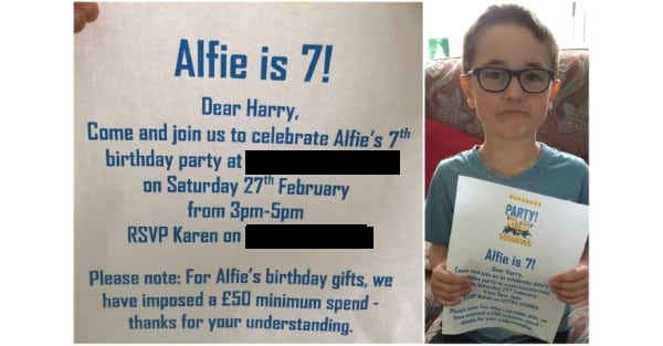 OUTRAGE as mum organises 7th birthday party with £50 MINIMUM SPEND on gifts