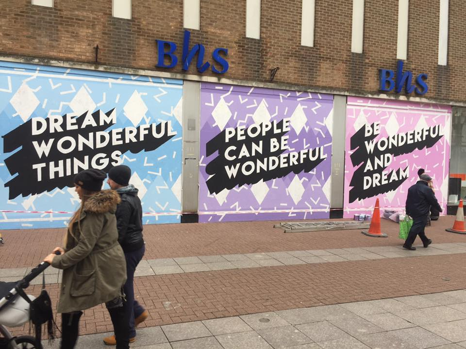 Artists cover abandoned Southend BHS building with INSENSITIVE AND INSULTING BOLLOCKS