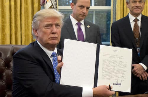 Donald Trump accidentally signs executive order banning WHITE AMERICANS from travelling to the USA