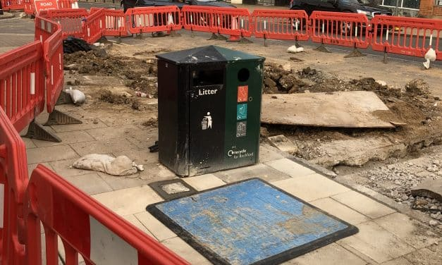'Lonely and desperate' litter bin cut off by roadworks given Facebook page by concerned locals